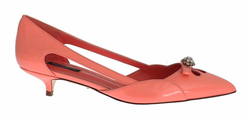 Dolce&Gabbana Dolce Crystal & Gabbana Pink Leather Crystal Dolce Kitten Heels Pumps 875785