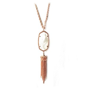 Kendra Scott New Kendra Scott Rayne Long Pendant Necklace Mother of Pearl Rose Gold