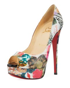 Christian Louboutin Lady Peep Toe Stiletto Platform Patent black Pumps