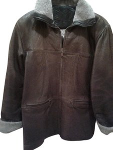 Vakko Warm Winter Genuine Zipped Front Zipped Front brown Leather Jacket