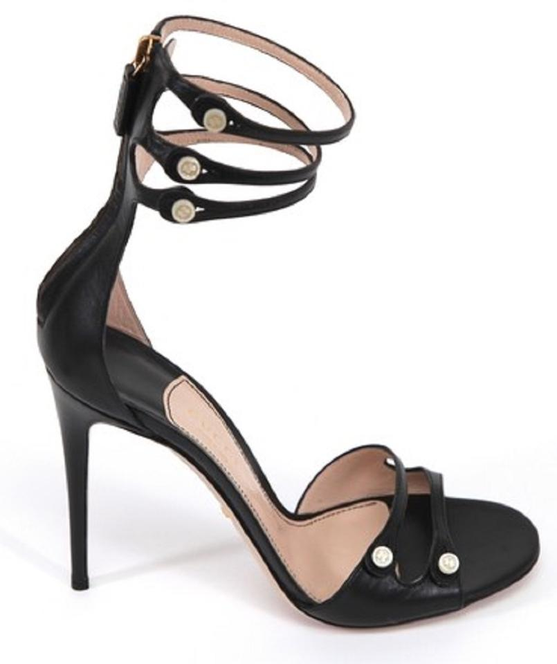 461bdff31 Gucci Black Leather Open Toe Mother Of Pearl Ankle Strap Sandals ...