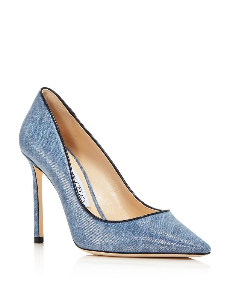 8964223c4dbe Jimmy Choo Denim Dusk Blue New Romy 100 Patent 8 Pumps. Size  EU 38.5 ...