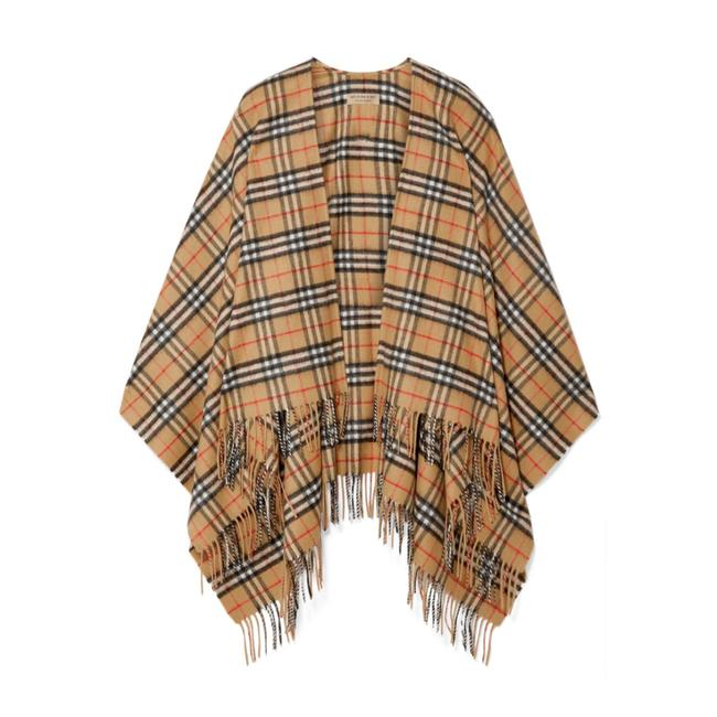 Item - Checked Fringe Cashmere Merino Wool Blend Wrap Scarf Poncho/Cape Size OS (one size)