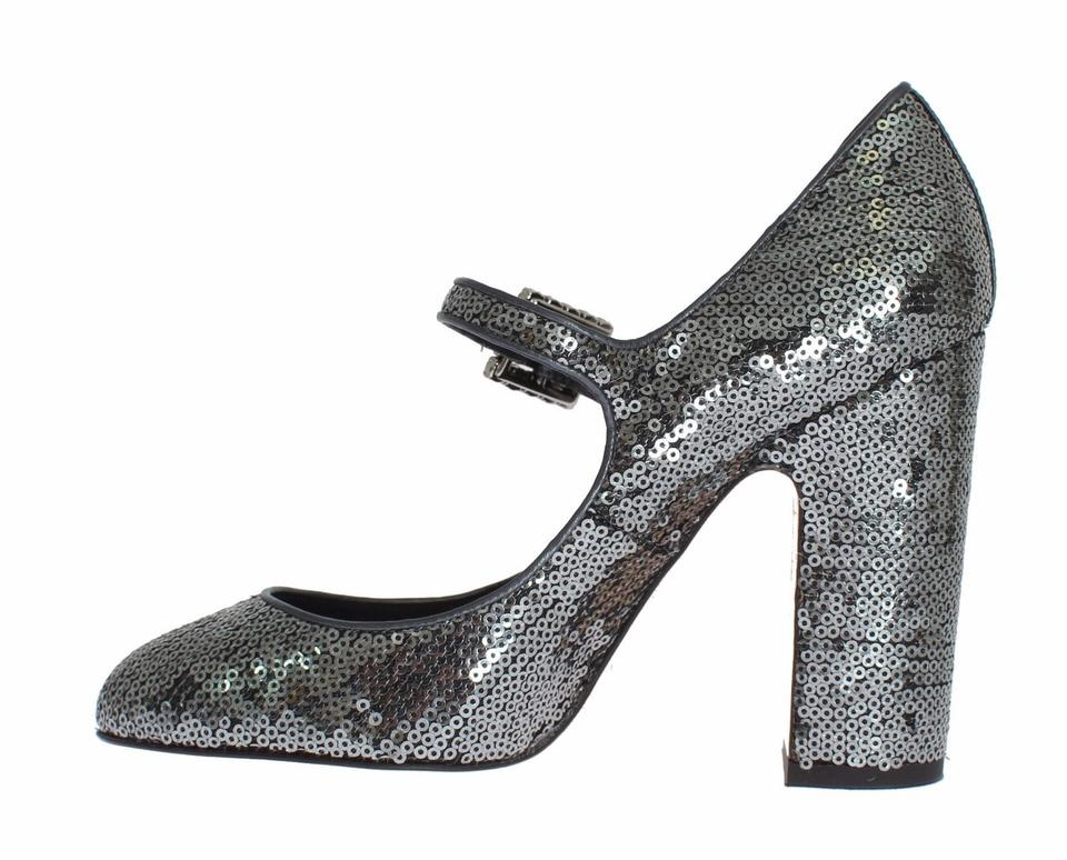 amp; Dolce Janes Gabbana Mary Sequined Gray Leather Pumps Dolce amp;Gabbana Egq7gBZ