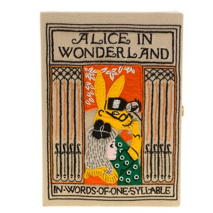 Olympia Le-Tan Beige Canvas and Brass Alice in Wonderland Book Clutch