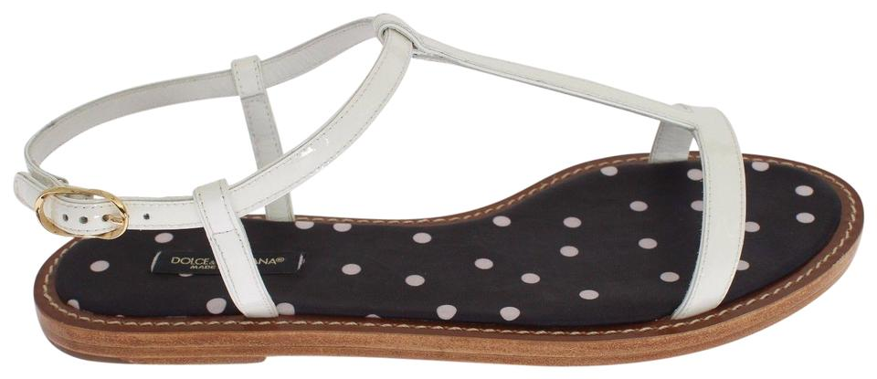 Dolce&Gabbana Dolce Ankle & Gabbana White Leather Ankle Dolce Strap Sandals eb100c