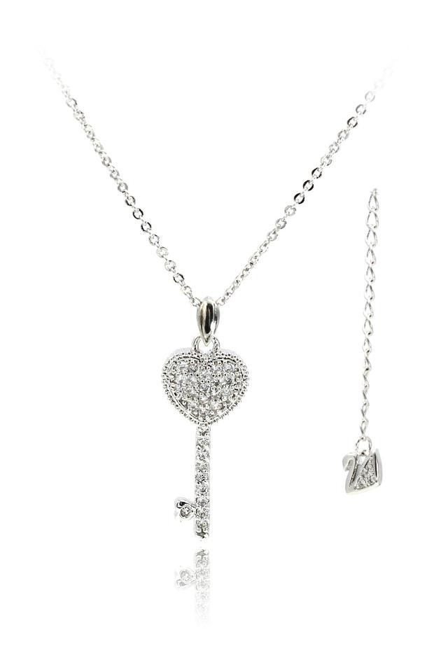 9469792012 Ocean Fashion Silver Pretty crystal heart key clavicle necklace ...