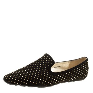 Jimmy Choo Studded Suede Leather Black Flats