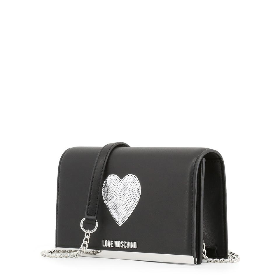 Moschino Silver Black Leather Love Synthetic with Clutch Heart TS1Sq