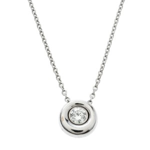 Chaumet Diamond Solitaire 18k White Gold Round Pendant Necklace