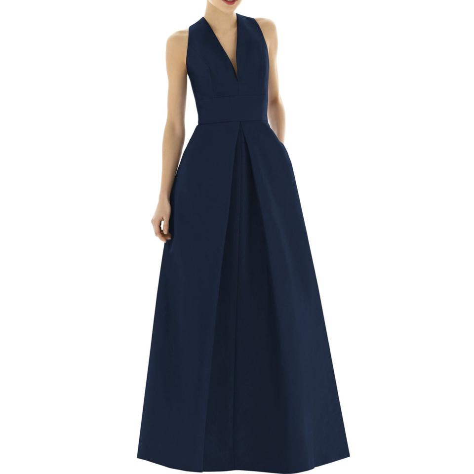 Alfred Sung Midnight Blue Dupioni A-line Gown Formal Bridesmaid/Mob ...