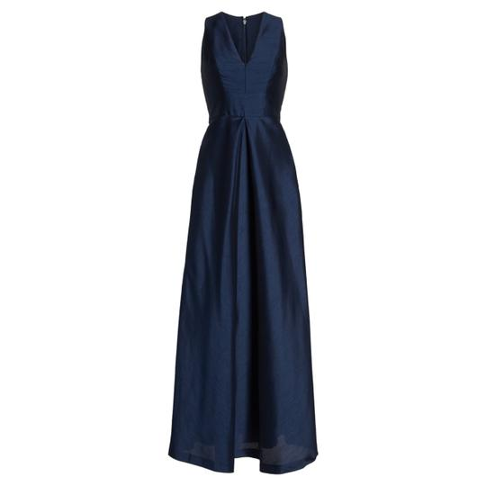 Alfred Sung Midnight Blue Dupioni A-line Gown Formal Bridesmaid/Mob Dress Size 10 (M)