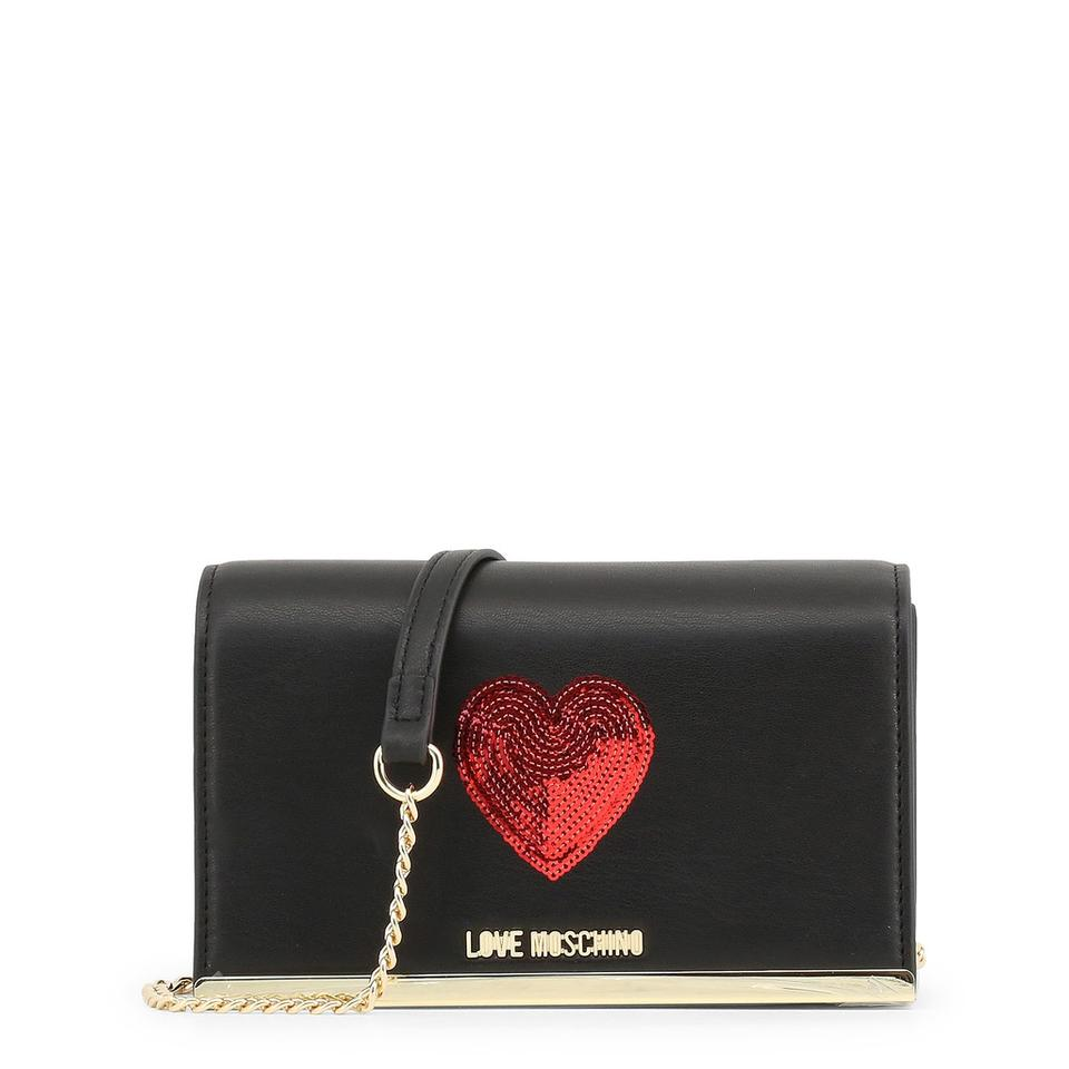 Red Black Heart Clutch Moschino Synthetic Love with Leather aUHwfx