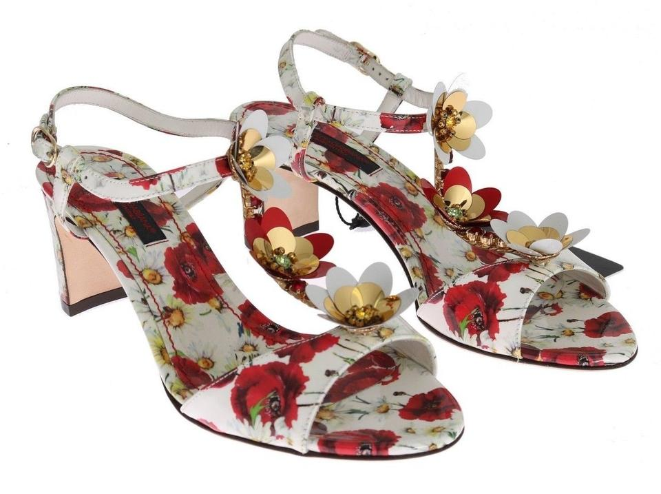 Dolce&Gabbana Dolce Leather & Gabbana White Leather Dolce Floral Crystal Sandals 2217f8