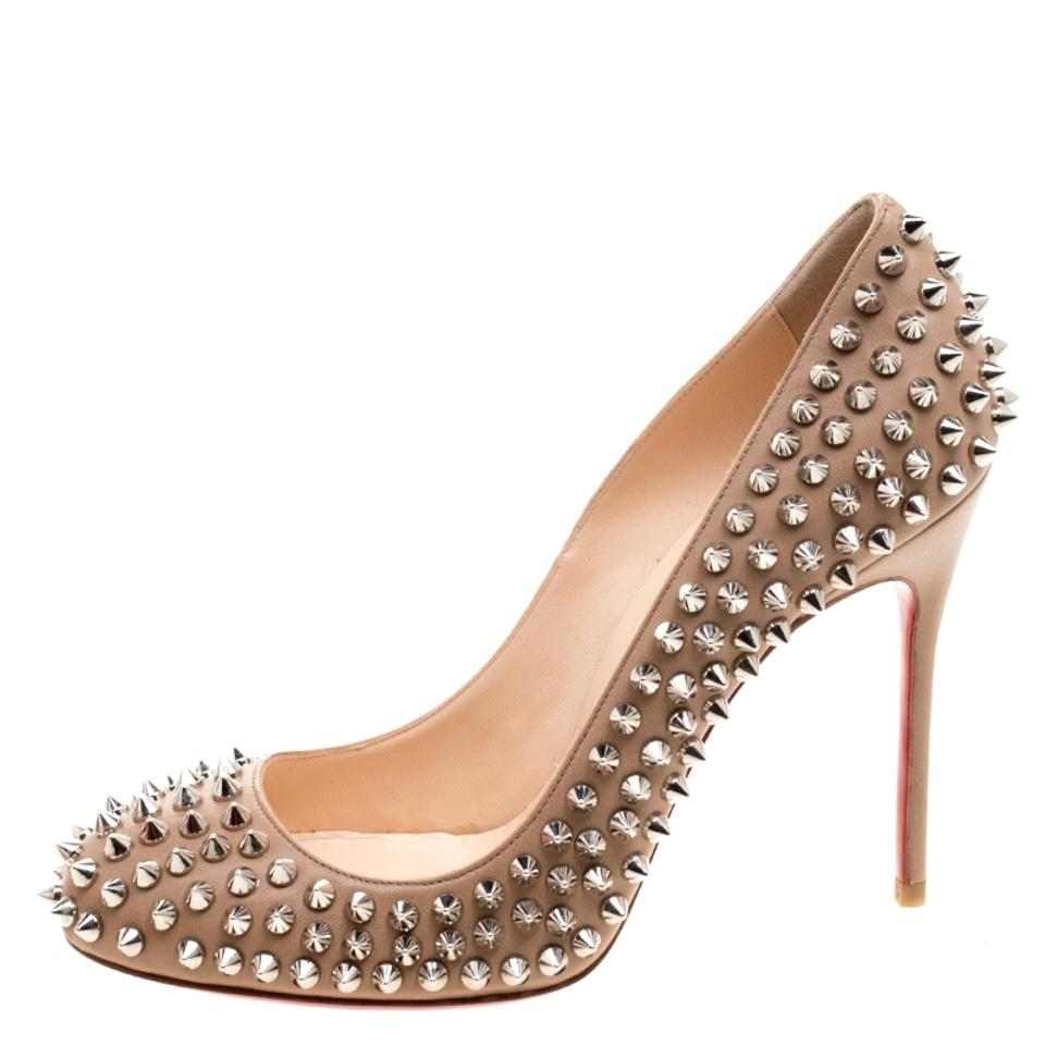 f1d3077f4955 Christian Louboutin Beige Leather Fifi Spike Pumps Size EU 37.5 ...