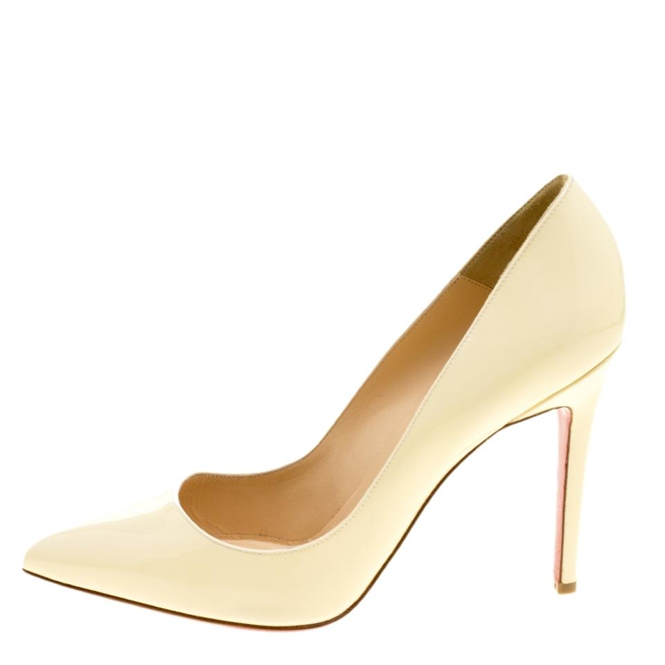 Cream Pigalle Christian Leather Siz Patent Pointed Pumps Louboutin RSOZcO4F