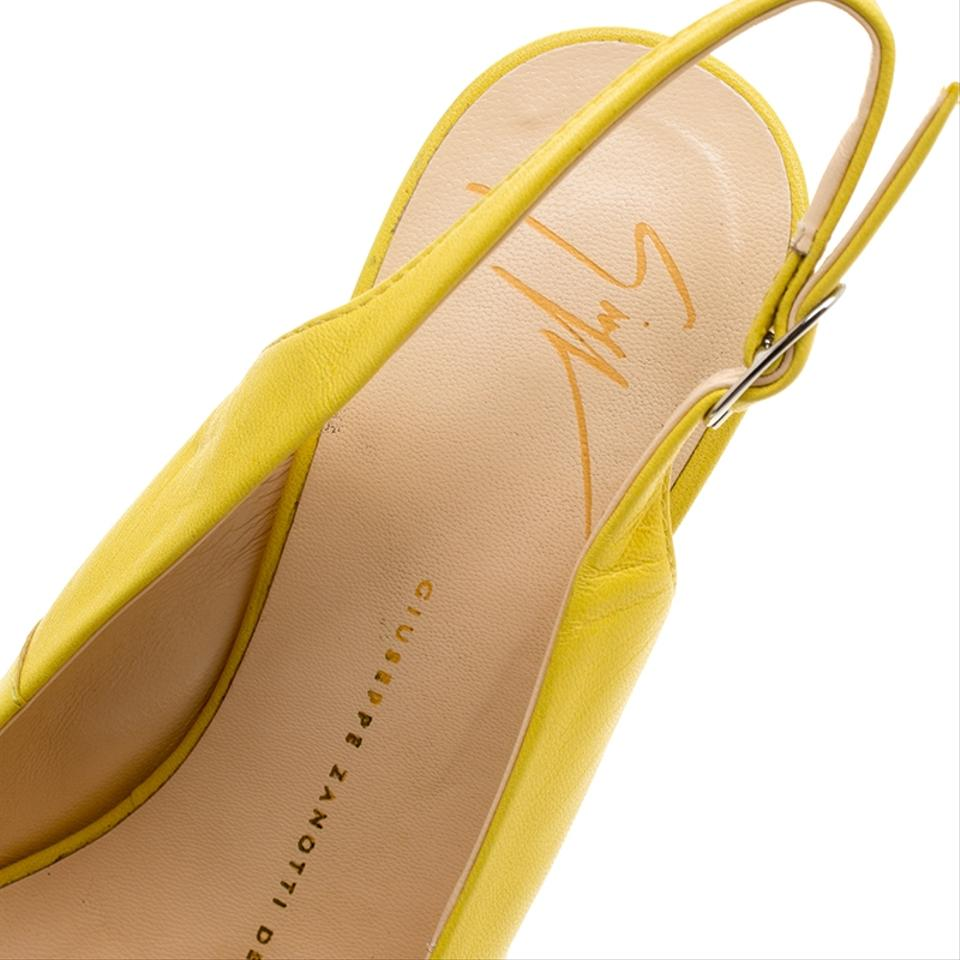 71588de8be4 Giuseppe Zanotti Leather Slingback Platform Yellow Sandals Image 7. 12345678