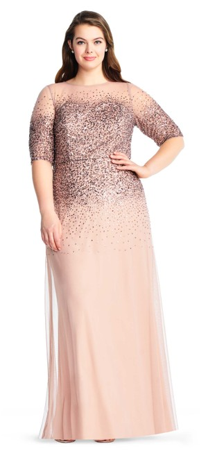 Preload https://img-static.tradesy.com/item/23841099/adrianna-papell-rose-gold-beaded-illusion-gown-16w-long-formal-dress-size-16-xl-plus-0x-0-0-650-650.jpg