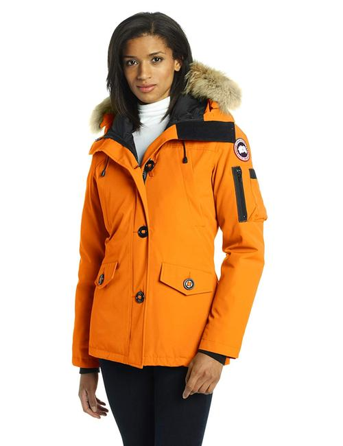 Item - Sunset Orange Montebello Slim Fit Down Parka Jacket Coyote Fur Trim Hood Coat Size 8 (M)