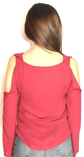 d6081a8697484 Saks Fifth Avenue Date Night Ruffle Cut-out Open Shoulder Fall Top Burgundy