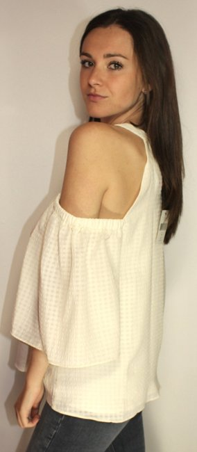 Saks Fifth Avenue Cut-out Open Shoulder Textured Date Night Top Cream