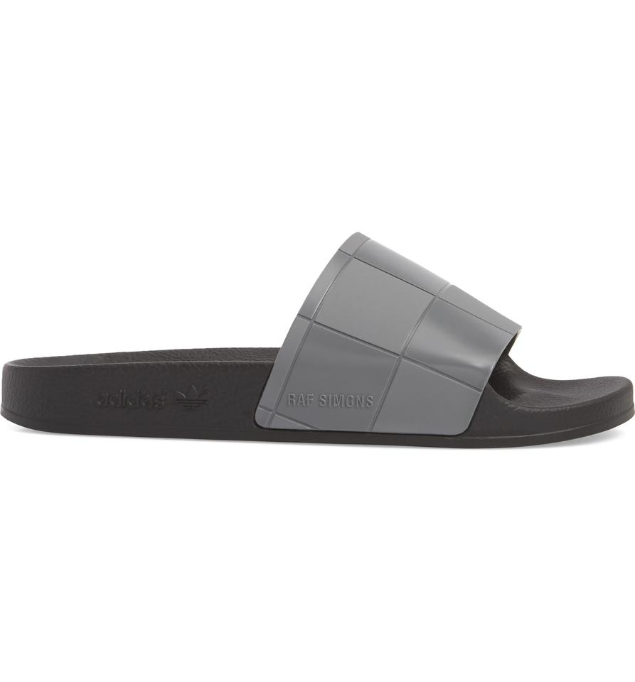 ec18a64d512 adidas by Raf Simons Gray New Adilette Checkerboard Men Slides ...