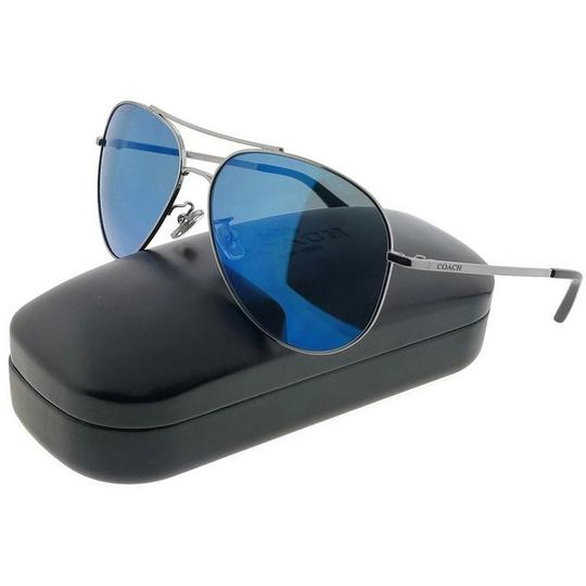Coach HC7035-914455 Unisex Gunmetal Frame Blue Lens 59mm Genuine Sunglasses