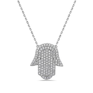 Crush & Fancy Camil-925 Sterling Silver Crystal Hamsa Necklace