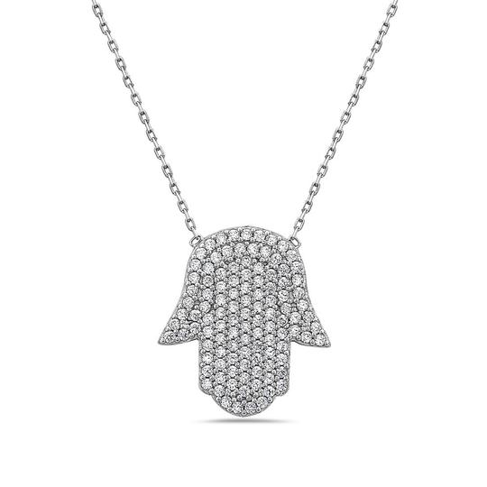 Preload https://img-static.tradesy.com/item/23841460/crush-and-fancy-white-camil-925-sterling-silver-crystal-hamsa-necklace-0-0-540-540.jpg