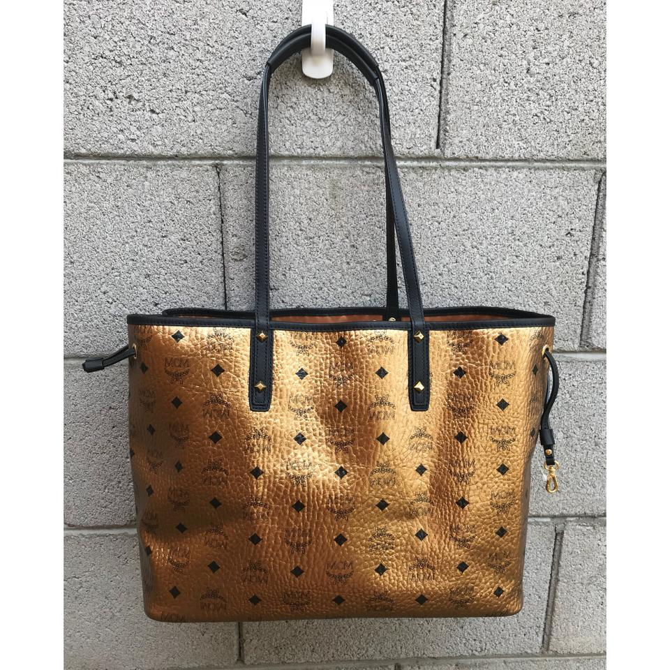 MCM Tote Gold Canvas Leather Visetos PaqZwaO
