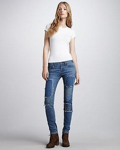 Free People Hillside Blue Patched Skinny Jeans