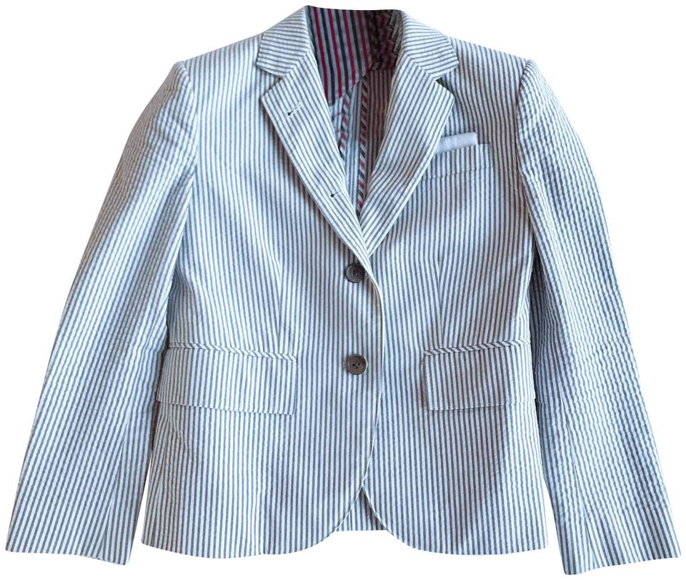 9e23508e2b Thom Browne Grey/White Classic Single Breasted Sport Coat with Half Lining  In Seersucker Blazer