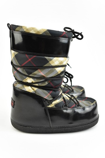 Burberry Leather Nova Check Snow Winter Black Boots