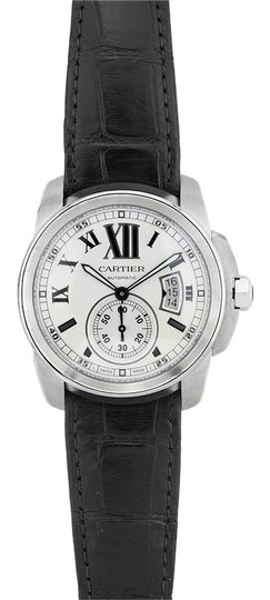 Preload https://img-static.tradesy.com/item/23841760/cartier-black-and-silver-calibre-de-stainless-steel-w7100037-42mm-watch-0-1-540-540.jpg