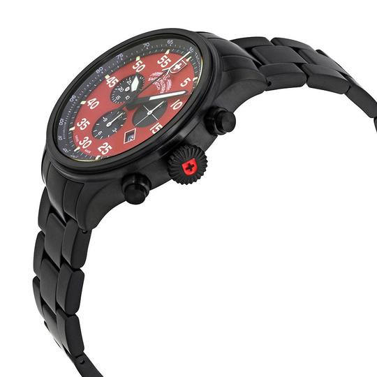 Swiss Military Swiss Military Hawk Red Dial Mens Stainless Steel Watch