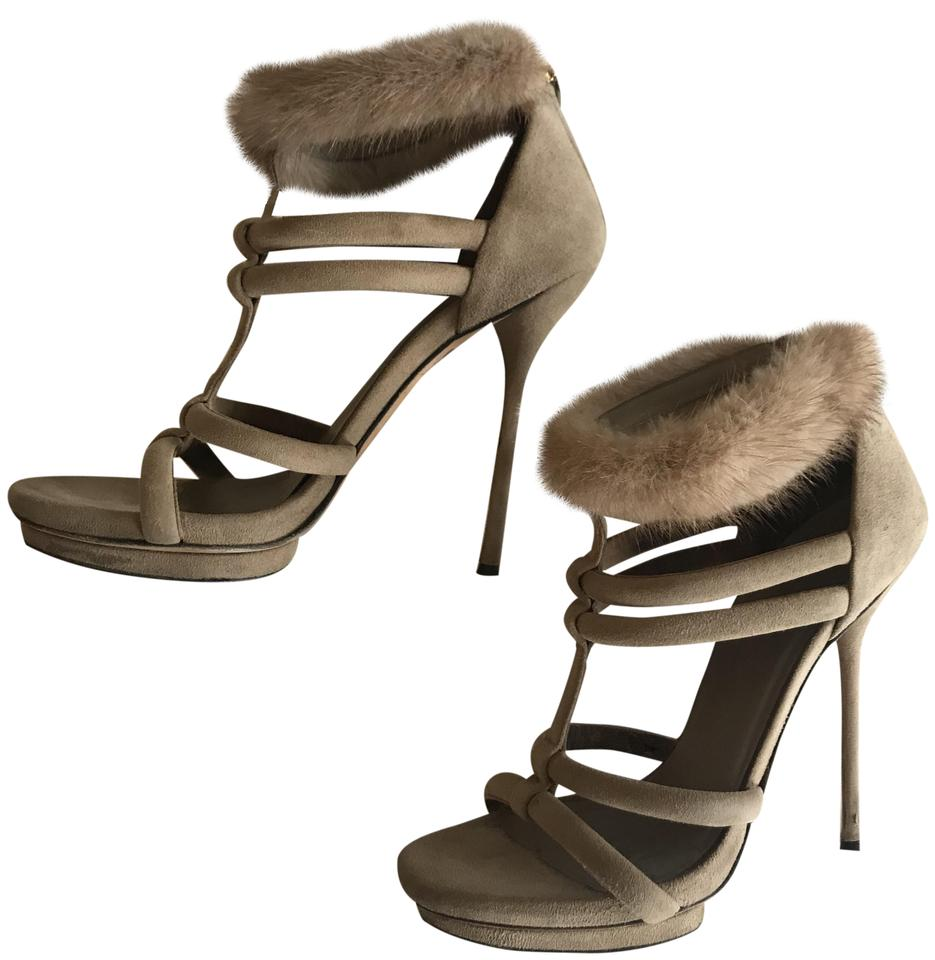 5c2f46250af4 Gucci Sand Fur-accented Cage Sandals Size EU 36 (Approx. US 6 ...