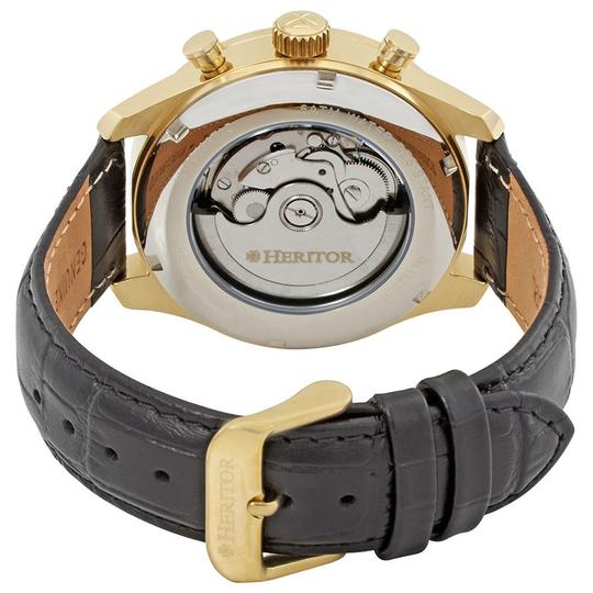 HERITOR Heritor Benedict Black Dial Gold-tone Case Black Leather Strap Automat