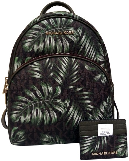 Preload https://img-static.tradesy.com/item/23841815/michael-kors-abbey-tropical-palm-leaf-print-and-matching-card-case-green-olive-brown-canvas-backpack-0-1-540-540.jpg