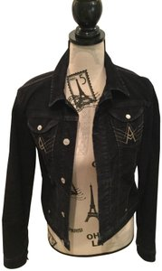 7 For All Mankind Corduroy Cropped Black Womens Jean Jacket