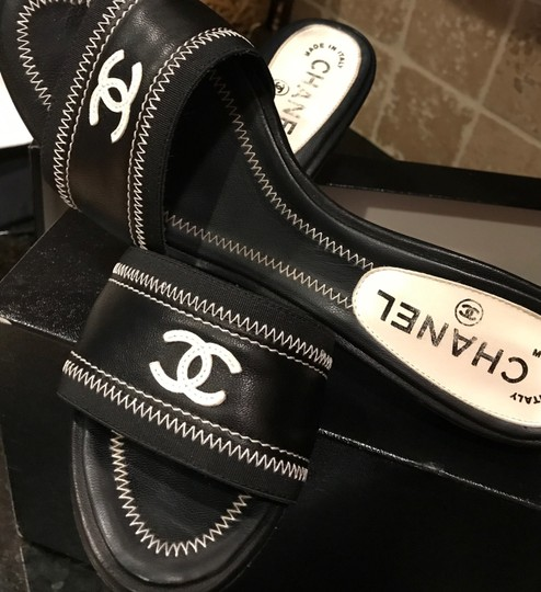 Chanel Black Italian Leather with white stitching and white CC/logo Sandals