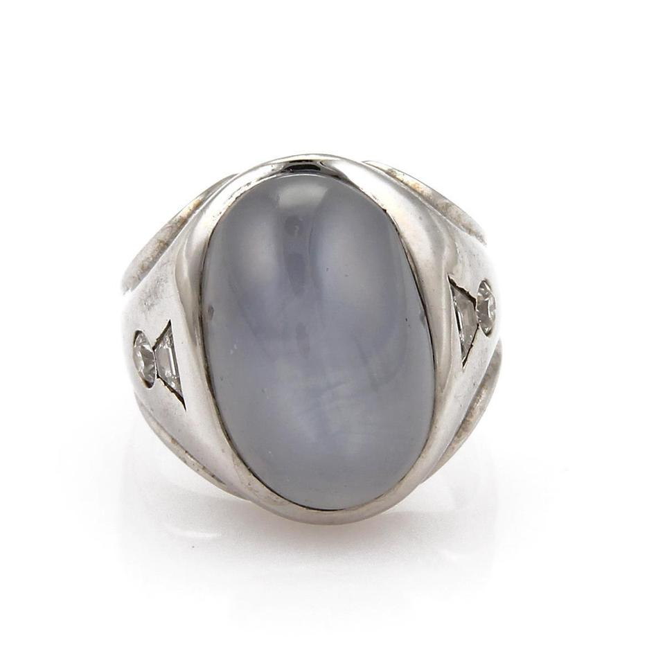 8af670b24ce0f Vintage 40.60ct Star Sapphire & Diamond 14k Wgold Cocktail Size 8 Ring