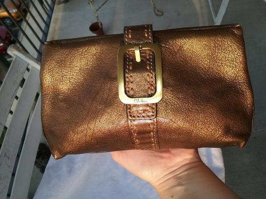 Cole Haan Leather Cosmetic Bronze Brown Clutch Image 2