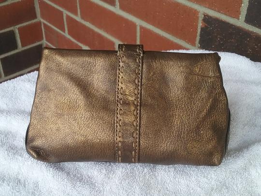 Cole Haan Leather Cosmetic Bronze Brown Clutch Image 4