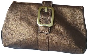 Cole Haan Leather Cosmetic Bronze Brown Clutch