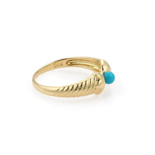 Dior Turquoise 18k Yellow Gold Floral Design Band Ring Size 5.75