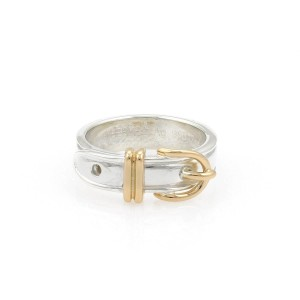 Hermès Sterling 18k Yellow Gold Belt Buckle Band Ring Size 48-US 4.5