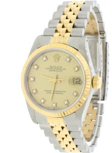 Rolex Mid Size Rolex Two-Tone Datejust with a Gold Diamond Dial 68273