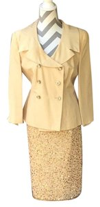 Apart Impressions Apart Impression Gold Suit with Rhinestone Buttons and Sequin Skirt