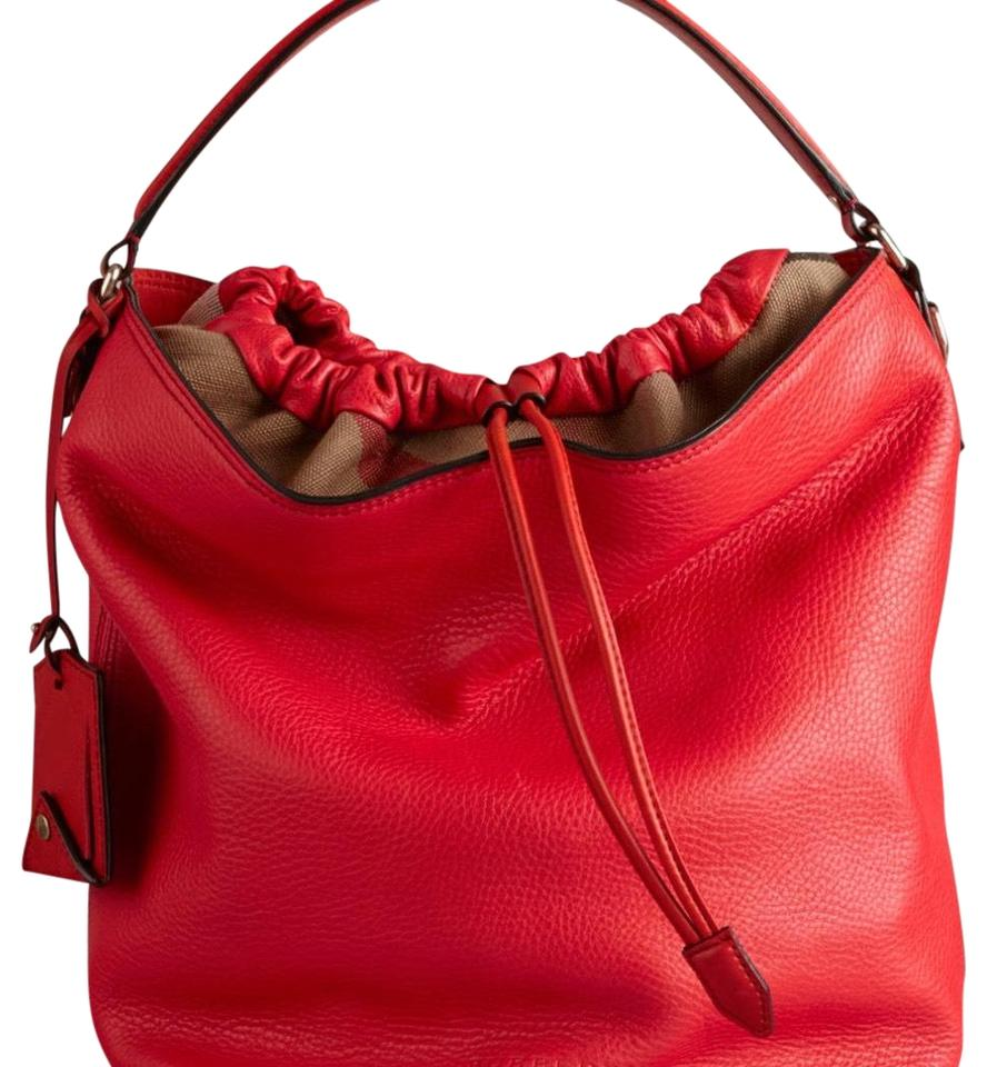 Burberry Grainy Calfskin Medium Check Ashby Cadmium Red Leather Hobo ... 8a676accded46