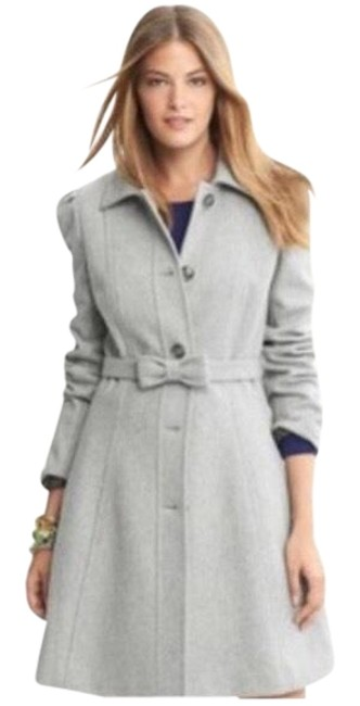 Item - Gray Wool Blend Belted Coat Size 8 (M)